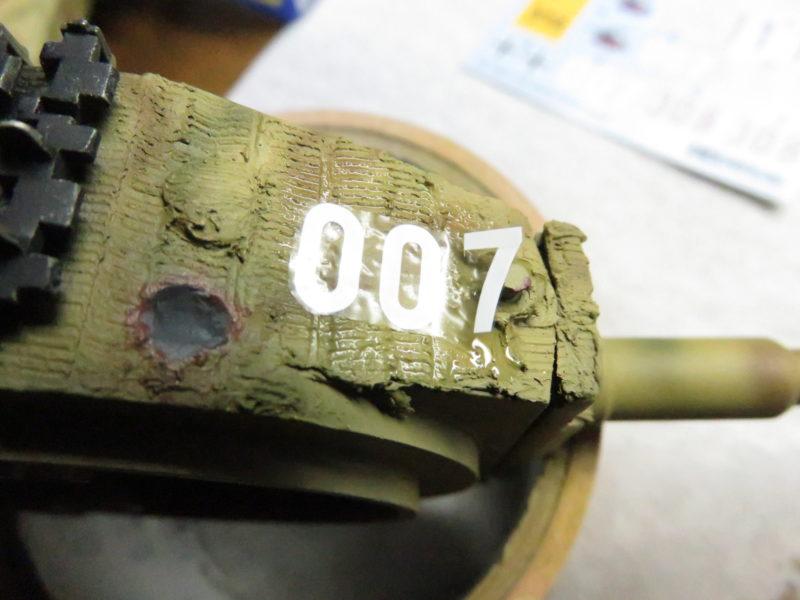 ティーガーI デカール貼り 砲塔に貼り付ける