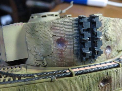 ティーガー1 被弾痕の塗装 砲塔側面