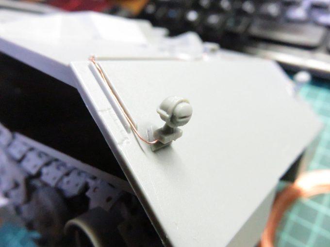超重戦車マウス ボッシュライトの配線追加 ライトの基部