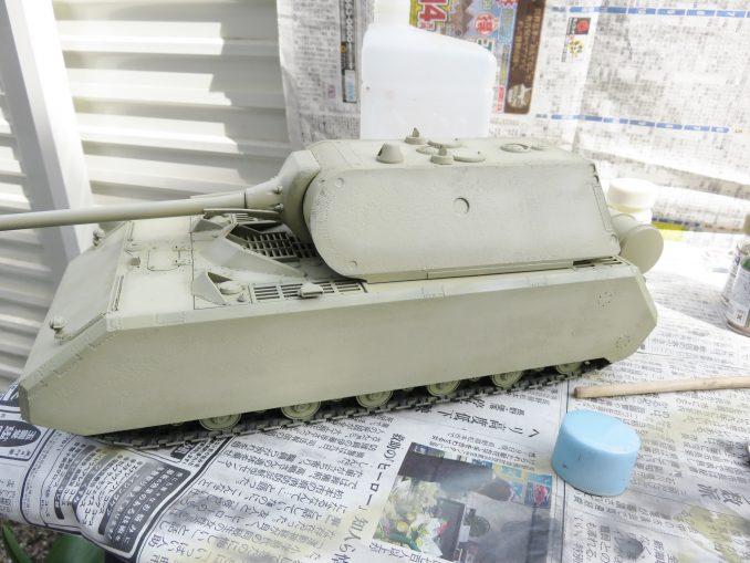 超重戦車マウス ダークイエロー塗装 車体と砲塔の塗装2