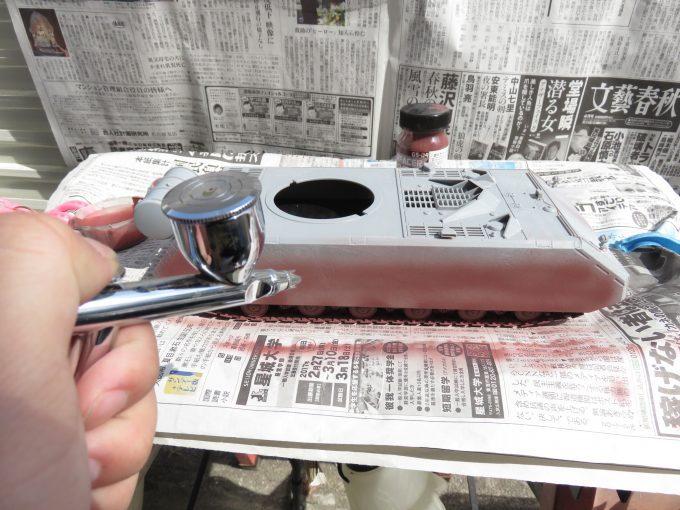 超重戦車マウス サーフェイサー(オキサイドレッド)塗装 側面装甲板