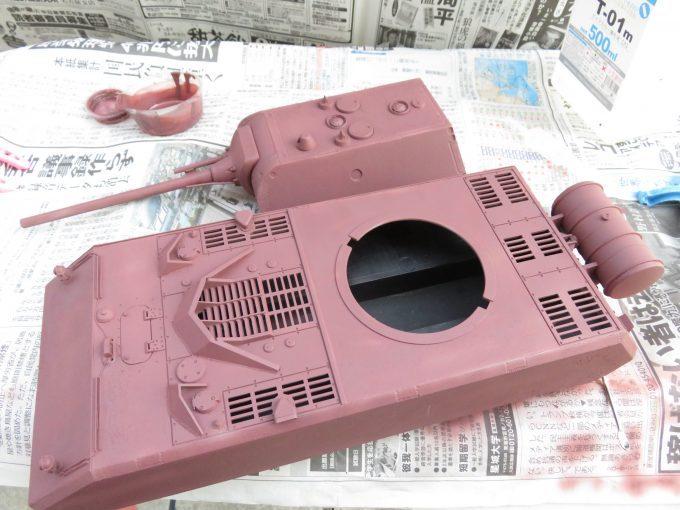超重戦車マウス サーフェイサー(オキサイドレッド)塗装 サフ塗り完了