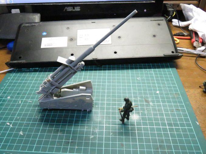 フラックワーゲン 砲身と砲架の仮組み3