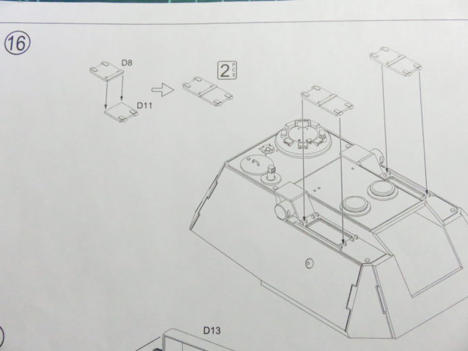 E-100対空戦車 砲塔上面のパーツ取り付け