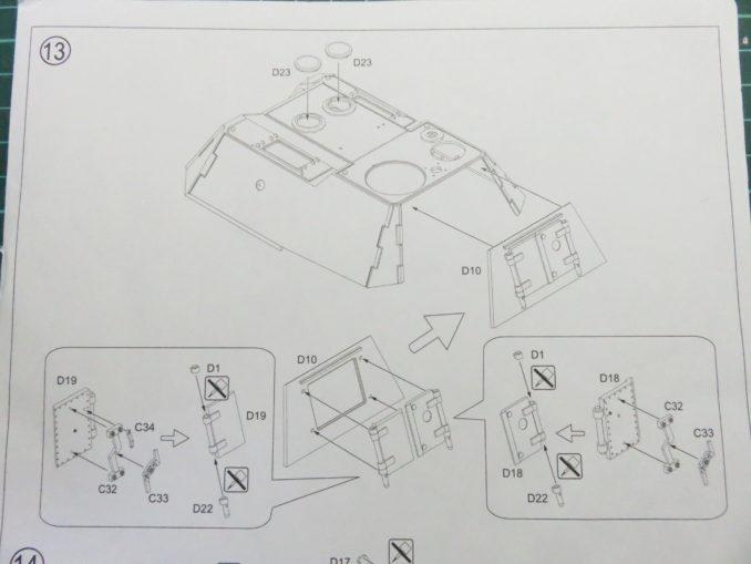 E-100対空戦車 砲塔後部の組み立て