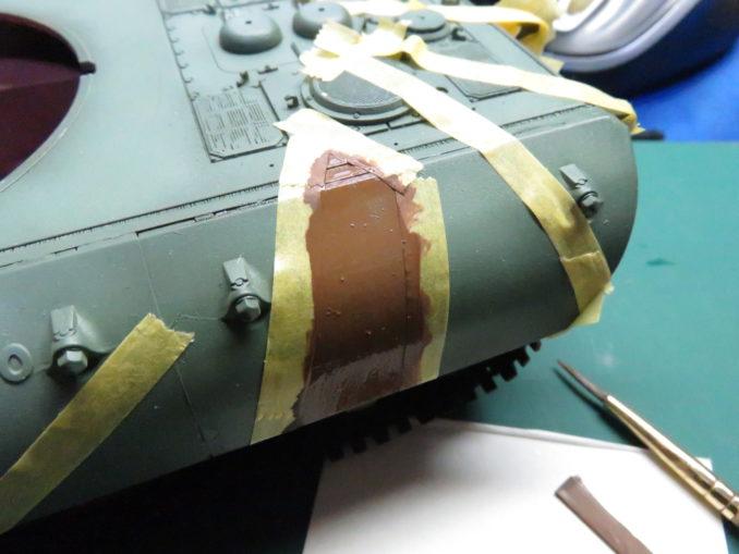 E-100 対空戦車 ストライプ迷彩 レッドブラウン筆塗り