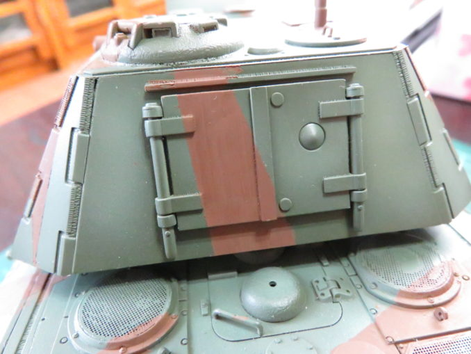 E-100 対空戦車 ストライプ迷彩 レッドブラウン筆塗り 砲塔後部