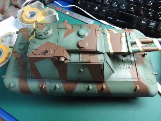 E-100 対空戦車 ストライプ迷彩 レッドブラウン塗装の完了