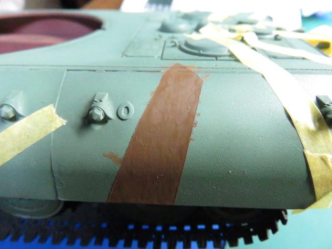 E-100 対空戦車 ストライプ迷彩 レッドブラウン筆塗り2