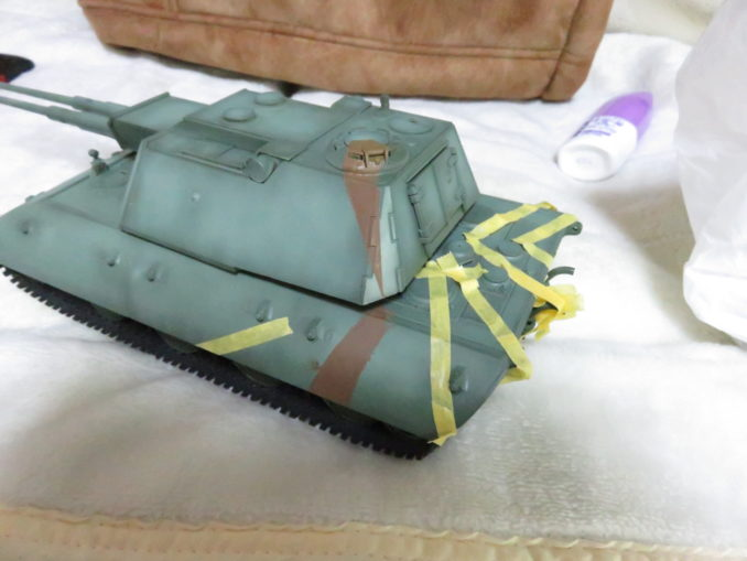 E-100 対空戦車 ストライプ迷彩 レッドブラウン筆塗り3