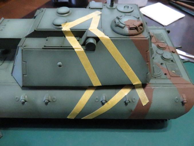 E-100 対空戦車 ストライプ迷彩 レッドブラウン筆塗り4