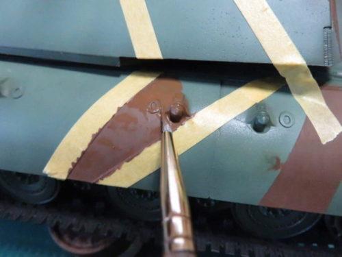 E-100 対空戦車 ストライプ迷彩 レッドブラウン筆塗り5
