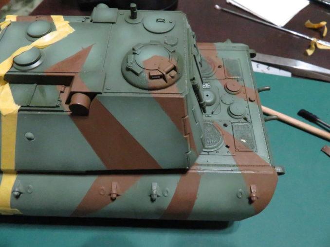 E-100 対空戦車 ストライプ迷彩 レッドブラウン筆塗り6