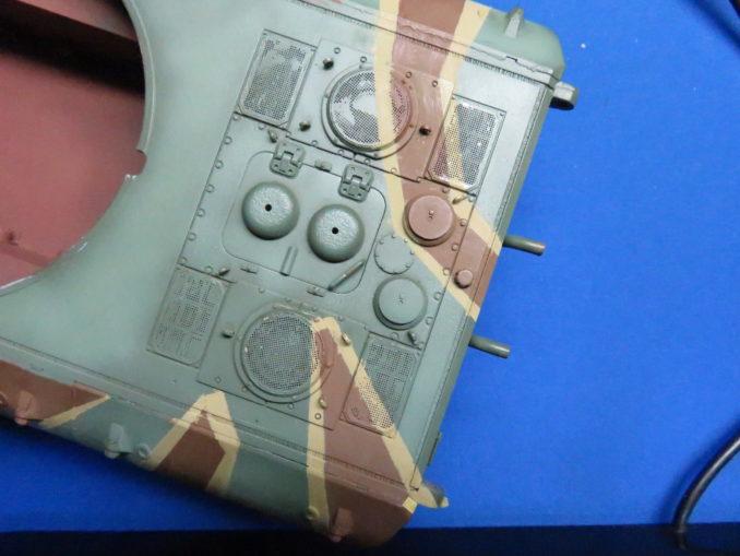 E-100 対空戦車 ストライプ迷彩(ダークイエロー) 車体後部の塗装
