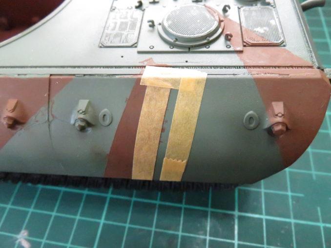 E-100 対空戦車 ストライプ迷彩(ダークイエロー) 車体側面の塗装
