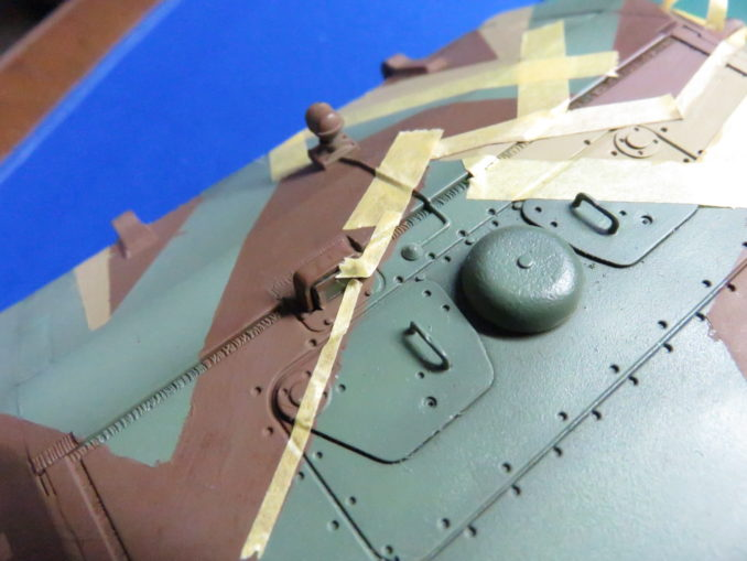 E-100 対空戦車 ストライプ迷彩(ダークイエロー) 車体正面の塗装2