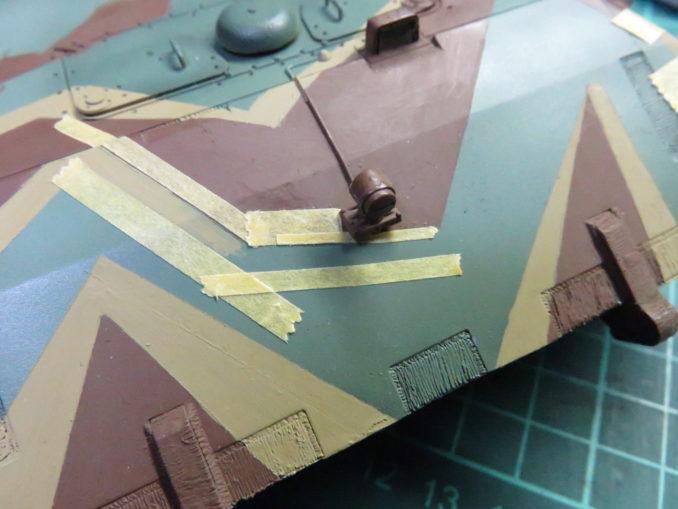 E-100 対空戦車 ストライプ迷彩(ダークイエロー) 車体正面の塗装3