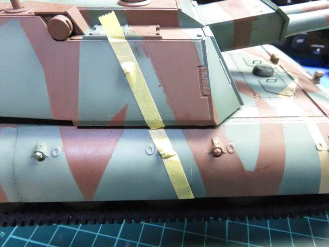 E-100 対空戦車 ストライプ迷彩 砲塔のダークイエロー塗装