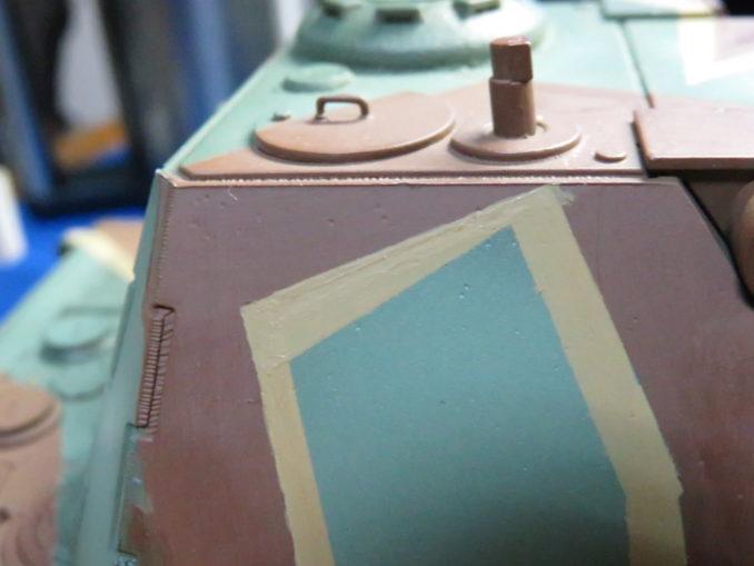 E-100 対空戦車 ストライプ迷彩 砲塔のダークイエロー塗装3