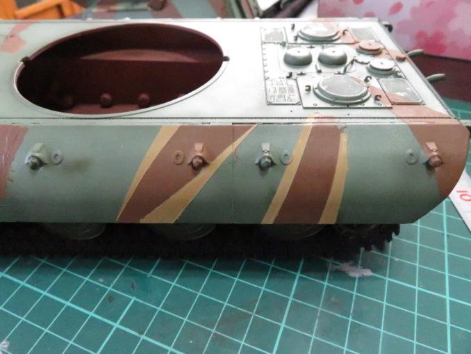 E-100 対空戦車 ストライプ迷彩(ダークイエロー) 車体側面の塗装4