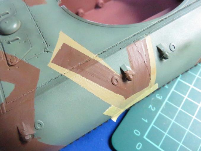 E-100 対空戦車 ストライプ迷彩(ダークイエロー) 車体側面の塗装7