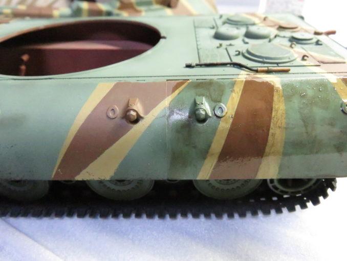 E-100 対空戦車 ウォッシング 塗装部分と未塗装部分の色の違い
