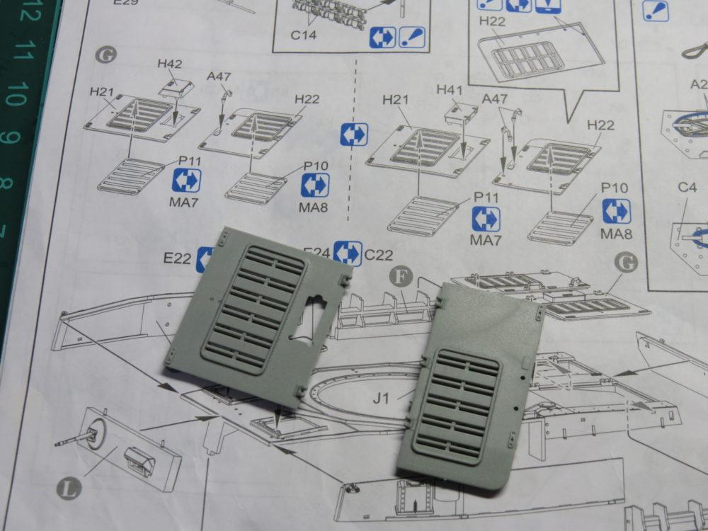 4号戦車 J型(中期型) 車体上部、ラジエーター点検ハッチ・冷却ファン点検ハッチの組み立て