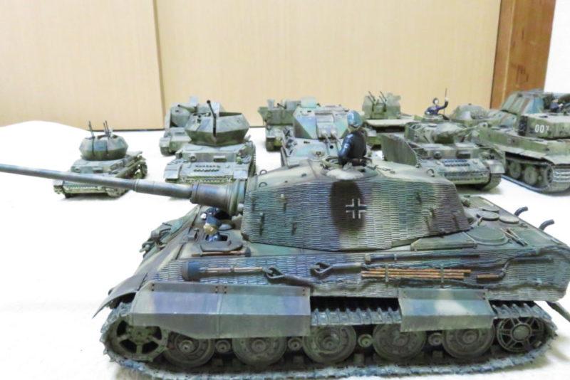キングタイガーと今まで作った戦車模型たち