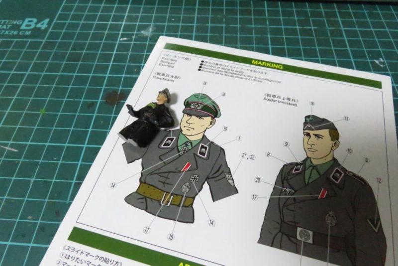 タミヤ ドイツ国防軍 戦車兵セット デカール貼り
